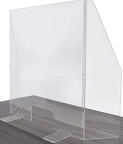 Acrylic Plexiglass Shield - Three Panels - Transaction Opening - Counter, Cashiers, Reception Sneeze Guard - Adjustable Safety Shield - Clear Barrier - 30x42'