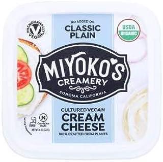 Miyoko's Creamery Organic Vegan Plant Based Classic Plain Cream Cheese 8 ounces (Pack of 6)