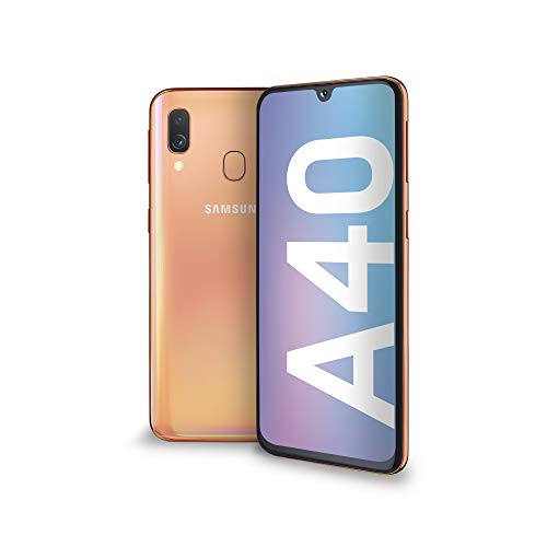 Samsung Galaxy A40 Smartphone, Display 5.9  Super AMOLED, 64 GB Espandibili, RAM 4 GB, Batteria 3100 mAh, 4G, Dual Sim, Android 9 Pie, [Versione Italiana], Coral
