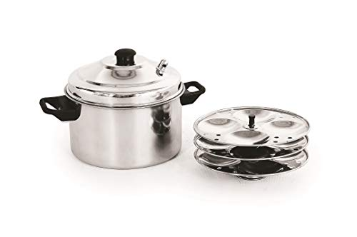 MAHAVIR Stainless Steel Induction 12PC IDLI Maker (Silver)
