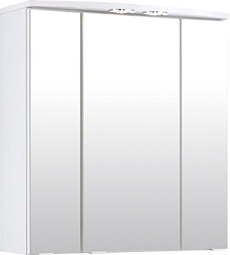 Held Möbel 173.2096 Small Spiegelschrank , 3 türig / 6 Einlegeböden / 2 Halogenstrahler / 60 x 64...