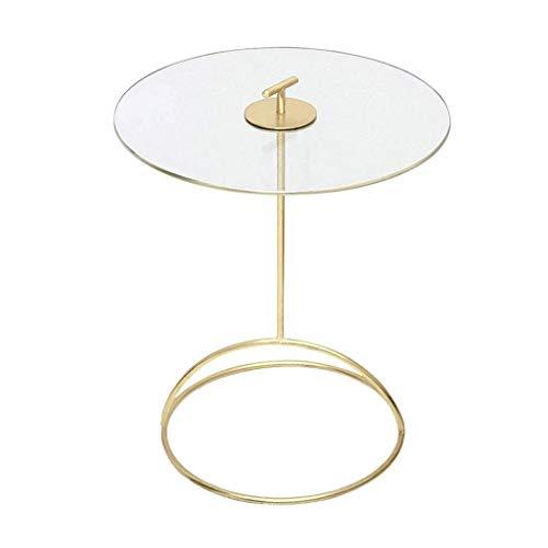 H-CAR Mesa auxiliar, mesa auxiliar, mesa auxiliar nórdica, mesa de café dorada, mesa redonda de cristal para sofá, mesita de noche extraíble para sala de estar, balcón, sofá, mesa auxiliar