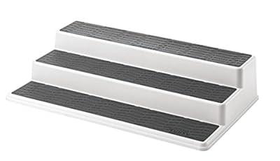 Copco 2555-0188 Non-Skid 3-Tier Spice Pantry Kitchen Cabinet Organizer, 15-Inch, White/Gray