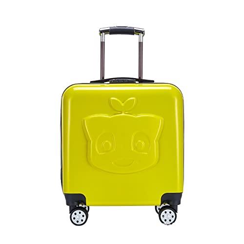 SHJKL Maleta De Niños De Dibujos Animados, Suitcase Lindas para Niños Y Niñas, Equipaje Liviano De Cáscara Dura con 4 Ruedas, Adecuada para Viajes Y Salidas. 18 Pulgadas,Amarillo