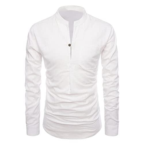 Camisa de Manga Larga básica con Cuello Alto de Color sólido para Hombre XXL