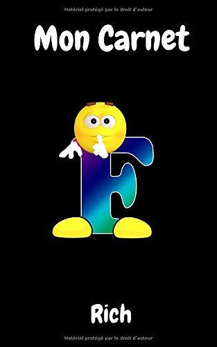 Mon Carnet: - Emoticônes Alphabet - Lettre F - Petit carnet de 100 pages, noir blanc
