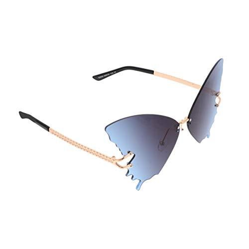 SOIMISS Randlose Sonnenbrille Schmetterling Sonnenbrille Vintage Punk Ocean Beach Hipster Brille Augenschutzbrille für Frauen Damen Grau Foto Requisite (Graublau)