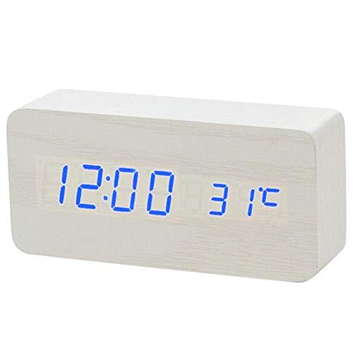 FPRW LED-klok met digitale wekker van hout, nachtlampje, LED-display, temperatuurweergave, bureauklok, elektronische smartwatch, wit blauw