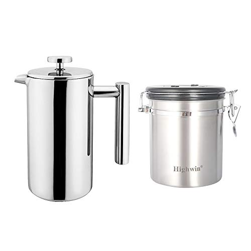 Highwin Small Stainless Steel French Press - 3 Cups Coffee Plunger Press Pot Best Tea Brewer & Maker - Double Walled. Unique Dual-Filter. Individual Serving (Silver Set)