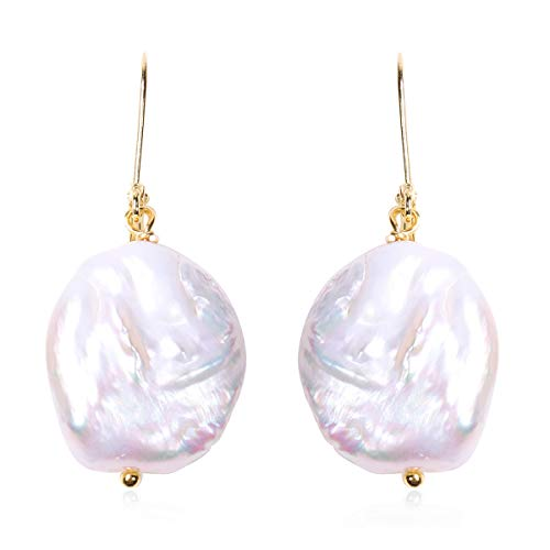 TJC White Pearl Drop Dangle Earrings for Women in Yellow Gold Plated 925 Sterling Silver Christmas Gift for Girlfriend, TCW 21.8ct