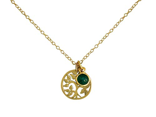 Gemshine YOGA Halskette mit Lebensbaum und Smaragd. 925 Silber, hochwertig vergoldet oder rose Anhänger. Nachhaltiger, qualitätsvoller Schmuck Made in Spain, Metall Farbe:Silber vergoldet