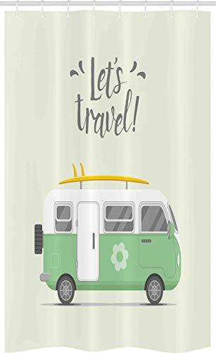 ABAKUHAUS Wohnmobil Schmaler Duschvorhang, Lets Travel Nachricht, Badezimmer Deko Set aus Stoff mit Haken, 120 x 180 cm, Elfenbein Hellgrün