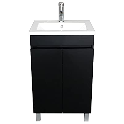 Sliverylake 20 Inch Free Standing Bathroom Vanity Cabinet with 2 Doors Undermount Resin Sink and Chrome Faucet Combo (Black)