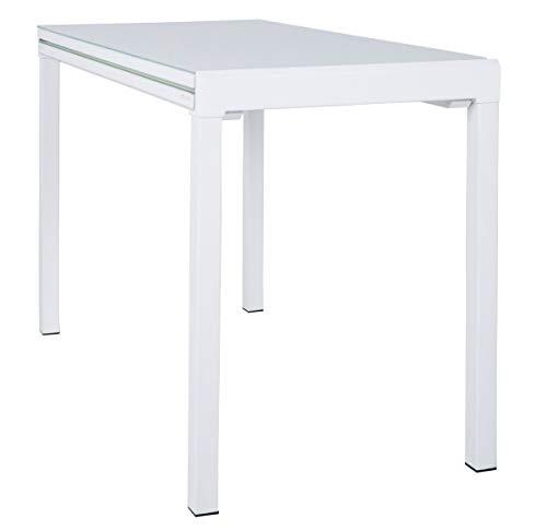 Dynamic24 Esstisch Lima 110x55/111cm Küchentisch Esszimmer Glas Tisch ausziehbar Weiss