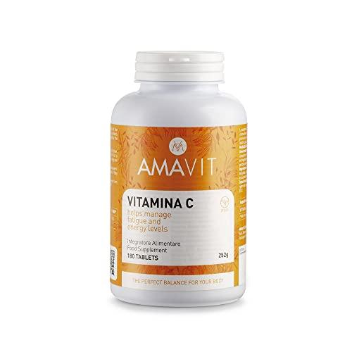 AMAVIT Vitamina C 1000mg 180 Tabletas Alta Dosis [Suministro durante 6 meses] MADE IN ITALY Suplemento Vitamina C Pura para las Defensas Inmunitarias Sin Gluten y Lactosa