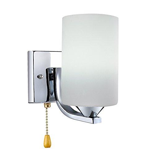 Midore Modern Wandleuchte mit Zugschnur Schalter Kordel Hübsche Innen Wandleuchte Gefrostetem Glas Schirm und Nickel Grundplatte mit LED Leuchtmittel (3W E27 Glühbirne Enthalten)