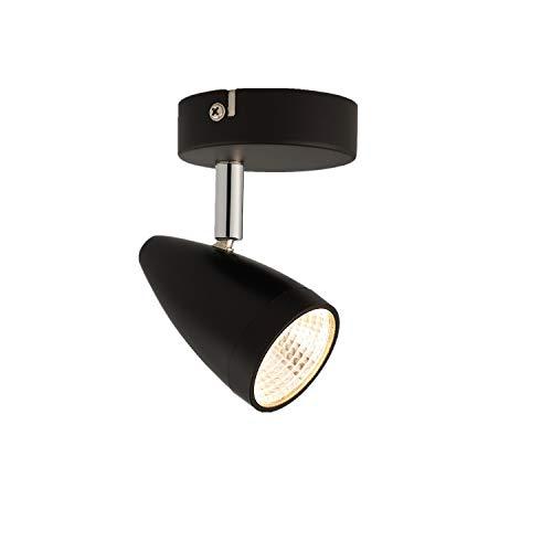 IMPTS LED Deckenleuchte Spotbalken schwarz dreh-und schwenkbar inkl. 5W 230V IP20 Warmweiß LED Deckenstrahler, LED Deckenlampe, LED Deckenspot (1-Flammig)
