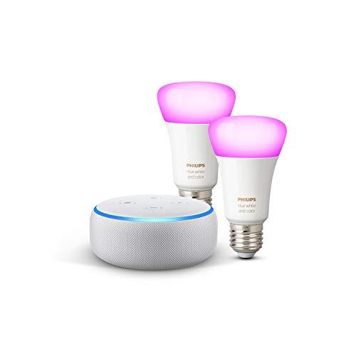 Echo Dot (3ª gen.) - Tessuto grigio chiaro + Lampadine intelligenti a LED Philips Hue White & Color Ambiance, confezione da 2 lampadine, compatibili con Bluetooth e Zigbee (non è necessario un hub)