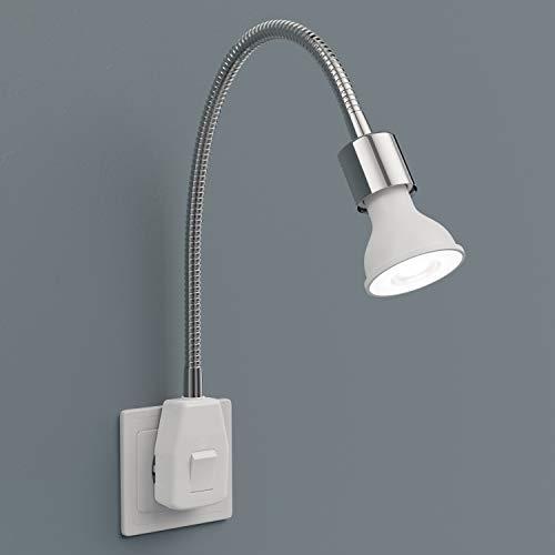 ledscom.de Steckdosenlampe LESCH Leselampe Schwanenhals, Schalter, Chrom inkl. GU10 LED Reflektorlampe 5.8W =60W 450lm 30° weiß 4100K