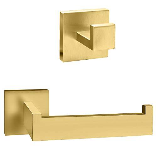 ECENCE Set Toilettenpapierhalter Handtuchhalter - Eckiges Design - Badezimmeraccessoires - aus rostfreiem Edelstahl Gold gebürstet