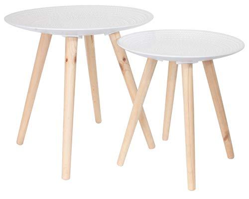 PEGANE Lot de 2 Tables gigogne avec Plateau Rond en Bois