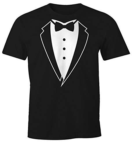 MoonWorks Anzug T-Shirt Smoking Tuxedo Anzug Aufdruck Fun-Shirt schwarz 4XL