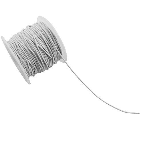 ZYAMY 1mm White Beading Elastic Thread Cord Rope Round Elastic Stretch Cord DIY Bracelet Sewing Accessories, 54.7 Yard