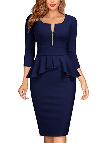 Miusol Negocios Peplum Lápiz Vestido de Fiesta para Mujer Azul Marino Medium