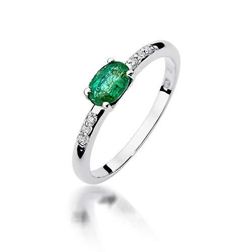 Anillo para mujer de oro blanco 585 de 14 quilates, esmeralda auténtica, diamantes y piedras preciosas