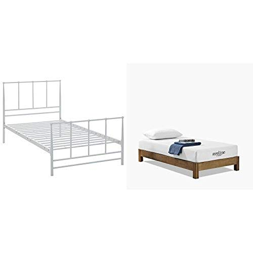 """Modway Estate Bed, Twin, White with Modway Aveline 8"""" Gel Infused Memory Foam Twin Mattress With CertiPUR-US Certified Foam"""