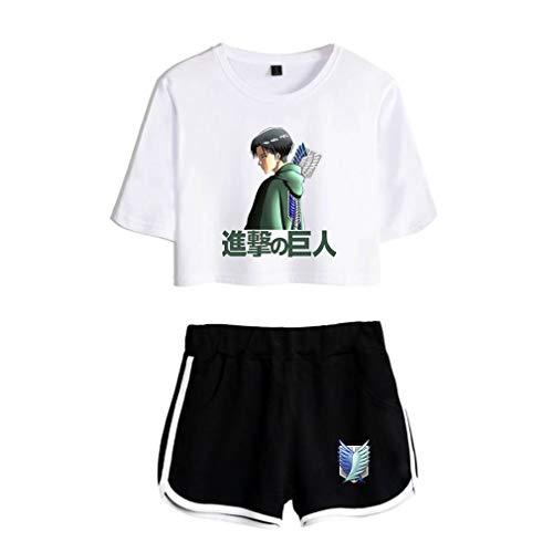VERROL Attack on Titan T-Shirt E Shorts per Donna, Moda Due Pezzi Maglietta Tumblr Ragazza Estate Manica Corta Camicetta, Casual Stampa Crop Top Anime Scout Regiment Levi Ackerman Ere Cosplay Rop