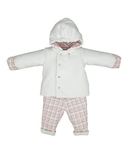 Kitikate Baby Mädchen Winterkleidung Neugeborene Kleinkind Tragen Weiß Rosa Kleid Mantel Kapuzenjacke Hose Set türkischer Stoff - Weiß - 9-12 Monate