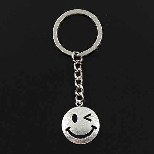 XHYKL sleutelhanger 24 x 20 mm cirkel smiley gezicht hanger DIY mannen sieraden auto sleutelring aandenken cadeau