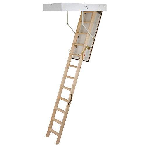 Laddaway 1530-000 EuroFold Dachboden-Leiter-Set aus Holz, mit isolierter Luke, 2.85m