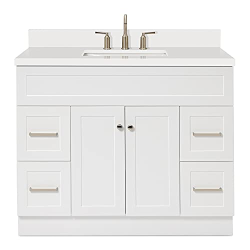 """ARIEL Single Sink Bathroom Vanity Cabinet in White Pure White Quartz Counter-top 