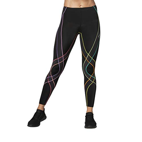 CW-X Women's Endurance Generator Joint and Muscle Support Compression Tight, Black/Pastel Rainbow, Medium