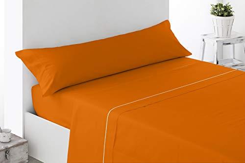 Energy Colors - Prado del Rey - Juego Sábanas 3 Piezas (Naranja, 150_x_200_cm)