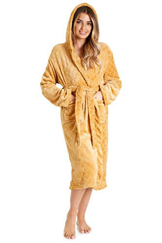 CityComfort Bademantel Damen, Morgenmantel Saunamantel, Damen Baumwolle Bademantel mit Kapuze und Taschen, Sauna und Spa Zubehör Geschenke für Frauen (M, Gelb)