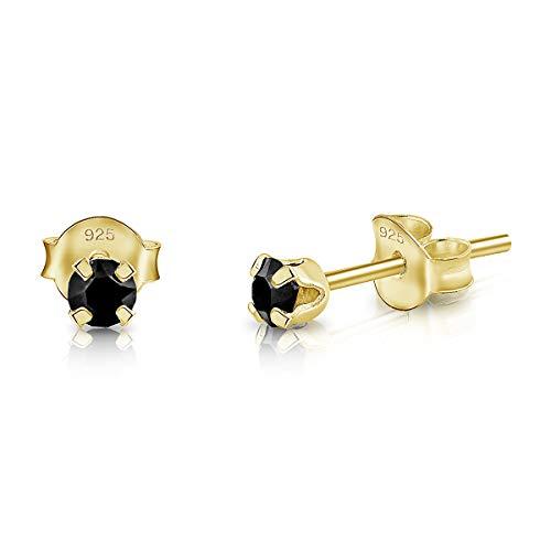 DTPsilver - Semental Pendientes/Aretes de Plata de Ley 925 Chapado en Oro Amarillo con Cristal Swarovski Elements Minúsculo Redondo - Diámetro: 3 mm - Color: Negro