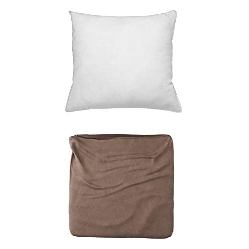Cojines Sofa con Relleno Incluido Pack de Cojin + Funda de 45x45 en Color Chocolate / Cojines Decorativos para Sofa , Cama , Salon / Fundas de Terciopelo Elegantes para la decoración del hogar