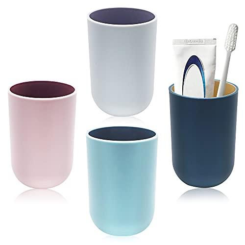TIE-DailyNec - Juego de 4 vasos para cepillos de dientes de plástico...