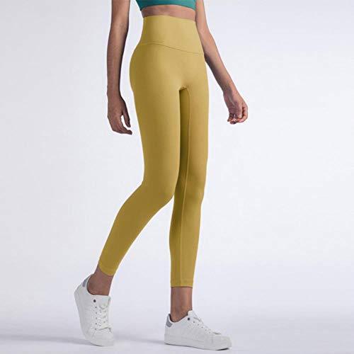 HPPLFitness legging voor dames, volledige lengte 8 kleuren hardloopbroek, comfortabele en nauwsluitende yogabroek, geel, XL