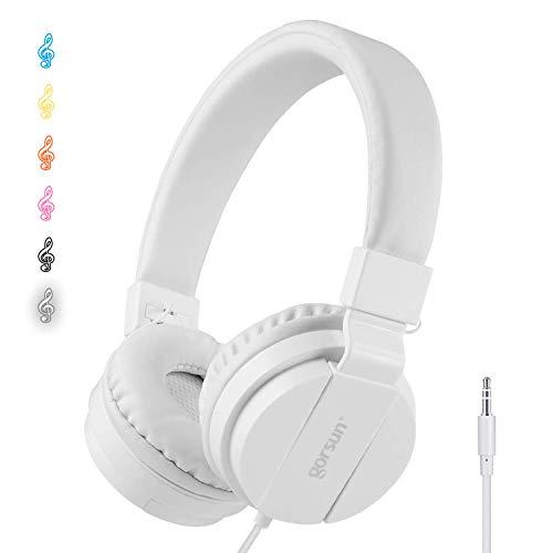 ONTA® gorsun Kopfhörer Kinder Faltbarer Leichte Headsets für Kinder On Ear Audio Kopfhörer für Kinder Handys Smartphones iPhone Laptop Computer mp3/4 Kinder Kopfhörer- weiß
