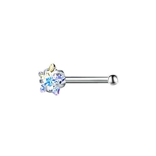 Allshiny Pendientes Joyería 3 PCS Diamante Rainbow Heart Star Redondo Anillos de la Nariz (Size : A)