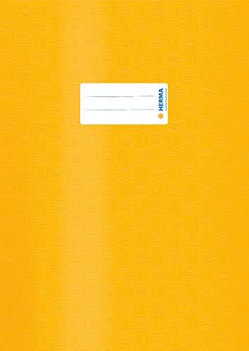 HERMA 7441 Heftumschlag DIN A4 gedeckt mit Baststruktur und Beschriftungsetikett, aus strapazierfähiger und abwischbarer Polypropylen-Folie, 1 Heftschoner für Schulhefte, gelb