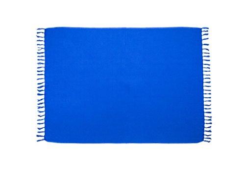 MANUMAR Damen Pareo blickdicht, Sarong Strandtuch in Blau mit Schnalle, XL 175x115cm, Handtuch Sommer Kleid im Hippie Look, für Sauna Hamam Lunghi Bikini