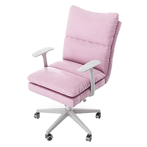 Bürostuhl Leinen drehbar, moderner niedlicher rollender Schreibtischstuhl Arbeitsstuhl mit Rädern, höhenverstellbarer Computerstuhl für Schlafzimmer