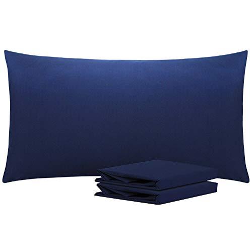 NTBAY Fundas de Almohada de Microfibra Lisa, Juego de 2 Fundas de Almohada Suaves, Antiarrugas y Resistentes a Las Manchas con Cierre de sobre, 50x90 cm, Azul Marino