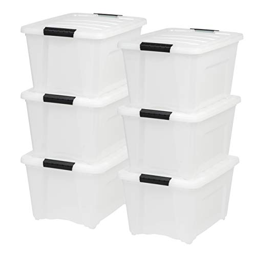 IRIS USA TB-28 32 Quart Stack & Pull Box, Multi-Purpose Storage Bin, 6 Pack, Pearl