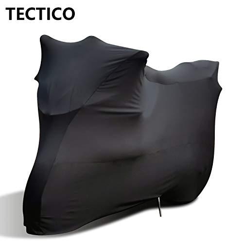 TECTICO Indoor Motorrad Abdeckplane Elastisch Staubdicht Atmungsaktiv Anti-Falten Samt-Stretchstoff Motorradabdeckung für Innen Garage Hallen Motor Show, Schwarz